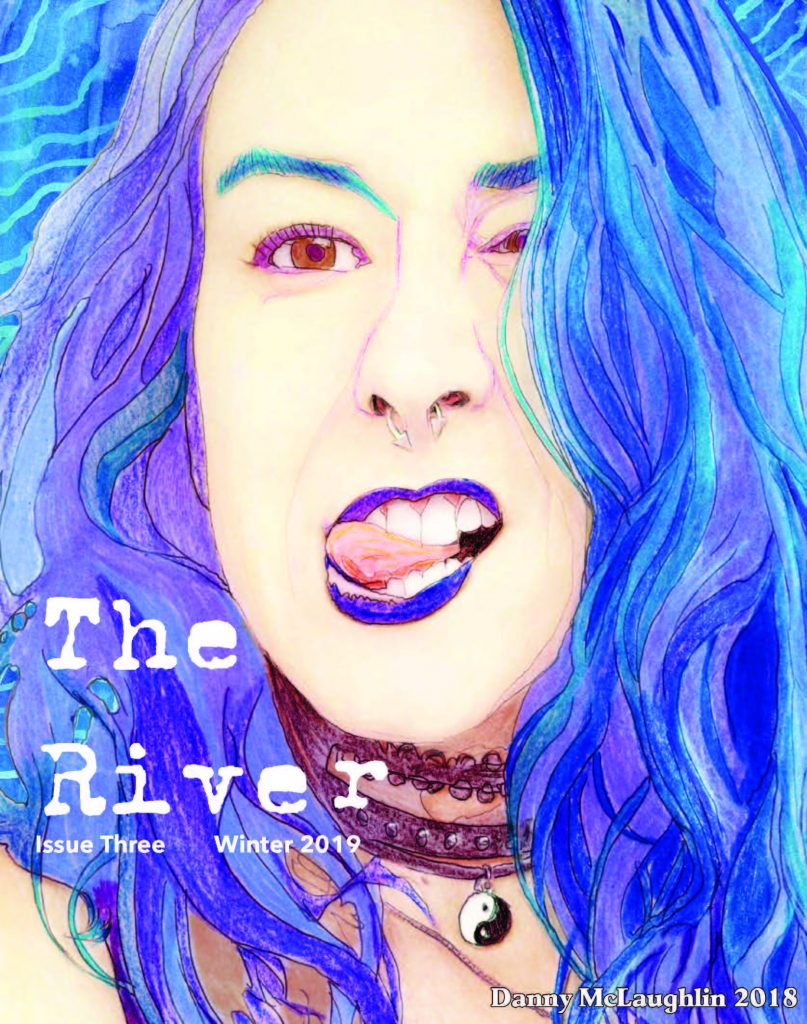 image of the river magazine cover, woman's face with tongue sticking out, blue hair and lipstick