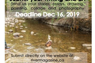image of poster for the call for submissions for river magazine issue 5 showing a small stone sculpture in the middle of a low water point on jackson creek in peterborough ontario, jest to the left a rubber booted foot is entering the frame
