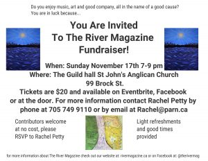 image of river magazine fundraising poster, the text in the poster is included in the article text below