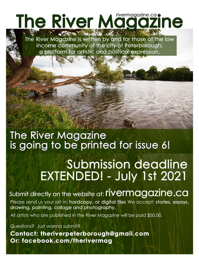 image of poster for submitting to issue six of river magazine. it shows the text from this page overlayed over an image of ducks swimming in the otonabee river next to a grassy bank under a tree. the tree has grown on an angle over the river and it's giant branches are sweeping the water's surface.